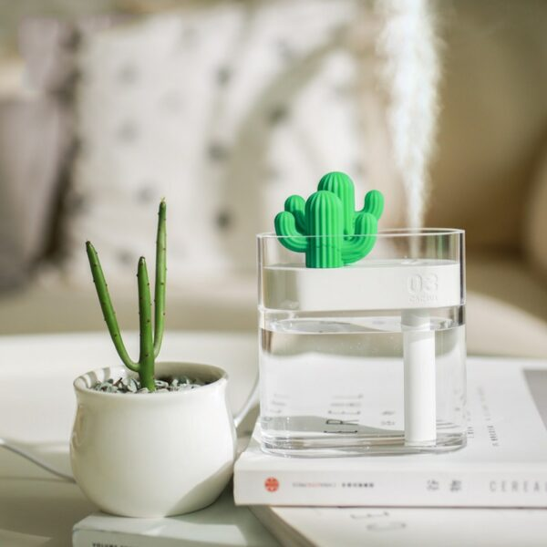 New Prickly Pear Small Green Plant Humidifier Transparent ABS Material Desktop Air Humidifier 160ML LED Night Light Diffuser