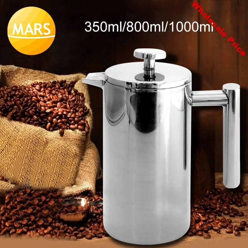 French Press Coffee Maker Machine 350ml/800ml/1000ml Double Layers Stainless Steel Coffee Tea Maker Pot with Filter Baskets