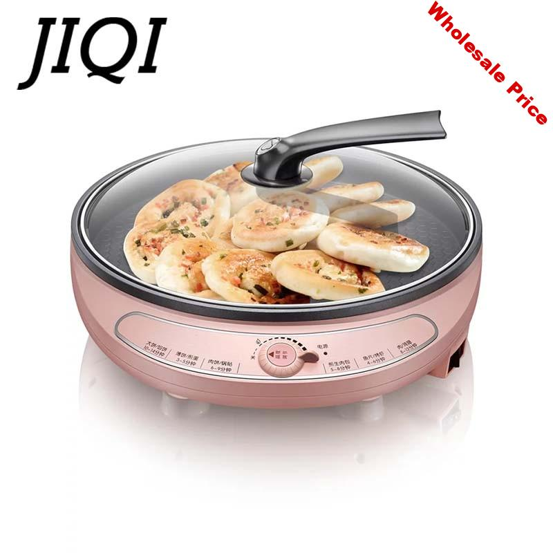 JIQI Electric baking pan Flapjack household heating scone machine double heating pancake maker barbecue grilling plate pizza