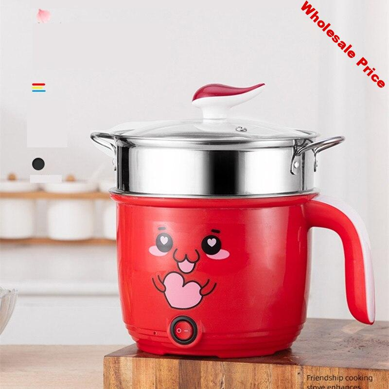 220V Mini 1.8L Electric Hot Pot Stainless Steel/Non-stick Inner Available Rice Cooker Portable Cooking Pot Machine For Travel