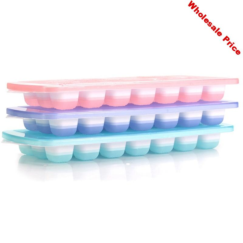 3 Packs Ice Cube Trays Flexible Ice Trays with Spill-Resistant Lids Easy Release Ice Trays Make 63 Ice Cube