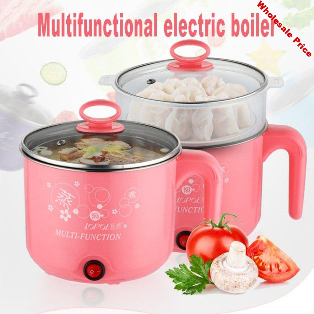 Cute 1.8L 450W Multifunction Electric Cooker Stainless Steel Steamer Hot Pot Noodles Pots Rice Cooker Steamed Eggs Pan Soup Pots