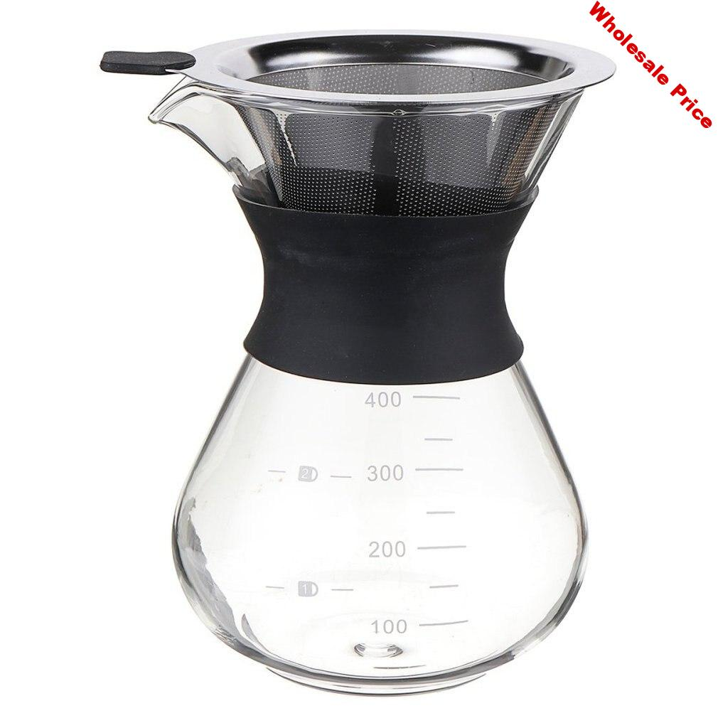 2020 Glass Coffee Pots Heat Resistant Classic Coffee Maker Pour Over Coffeemaker Coffee Pot Stainless Steel Coffee Filter#2
