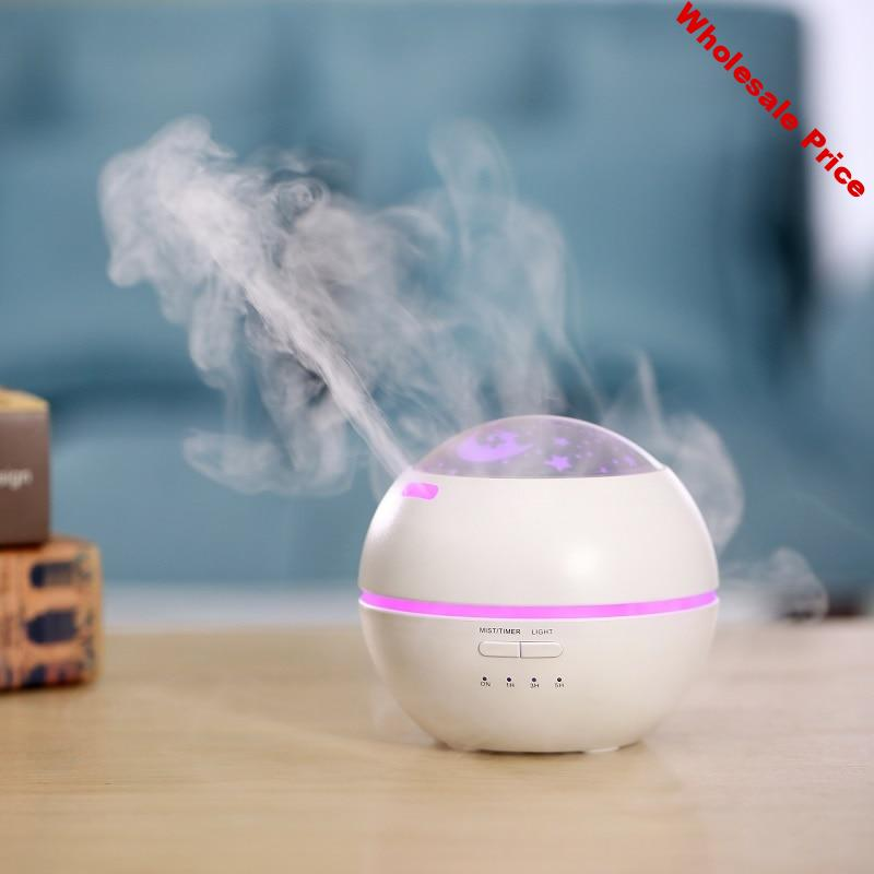 White Projection Air Humidifier Aroma Essential Oil Diffuser Ultrasonic Aromatherapy Humidifier with Colorful LED Light for Home