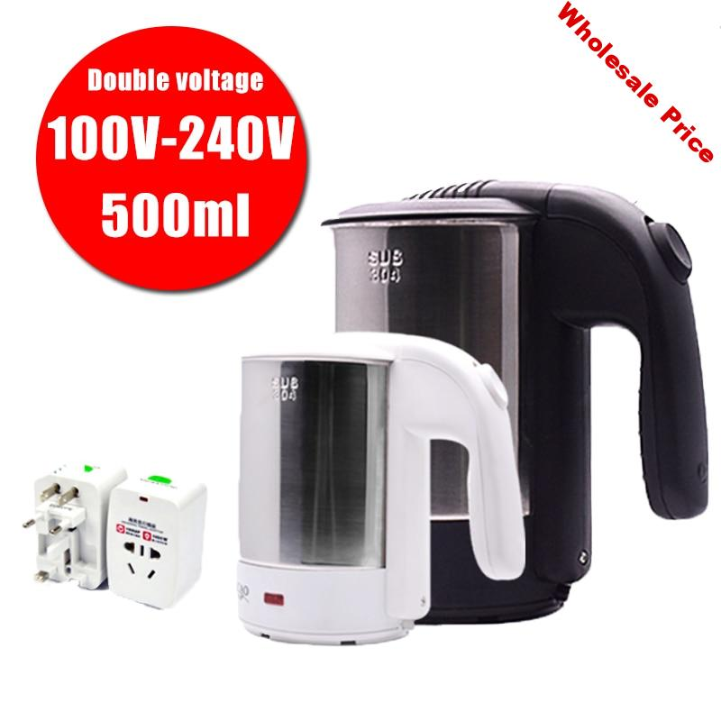 0.5L mini electric kettle 1000W stainless steel portable travel water boiler 100V-240V double voltage Household easy to clean