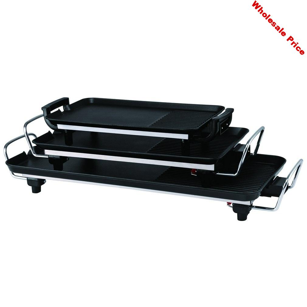 Black Non-slip Feet Variable Heat Settings Electric Teppanyaki Table Top Grill Griddle BBQ Barbecue Camping With Spatula