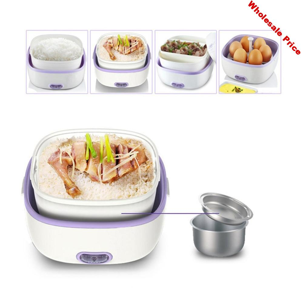 New Multifunctional Electric Lunch Box Mini Rice Cooker Portable Food Heating Steamer Heat Preservation Lunch Box EU Plug