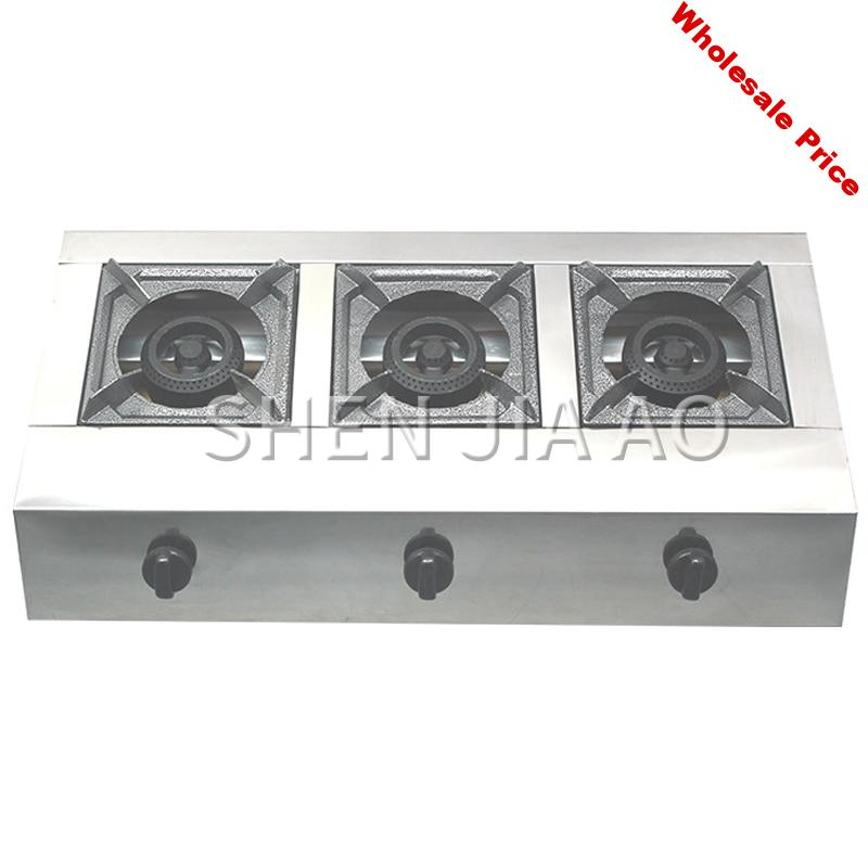 Commercial multi-head stove Commercial gas stove Stainless steel three-hole honeycomb furnace Desktop gas stove