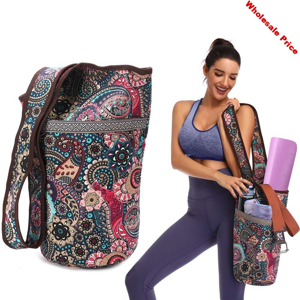 Yoga Mat Bag Casual Fashion Canvas Yoga Bag Backpack with Large Size Zipper Pocket Fit Most Size Mats Yoga Mat Tote Sling Carrie