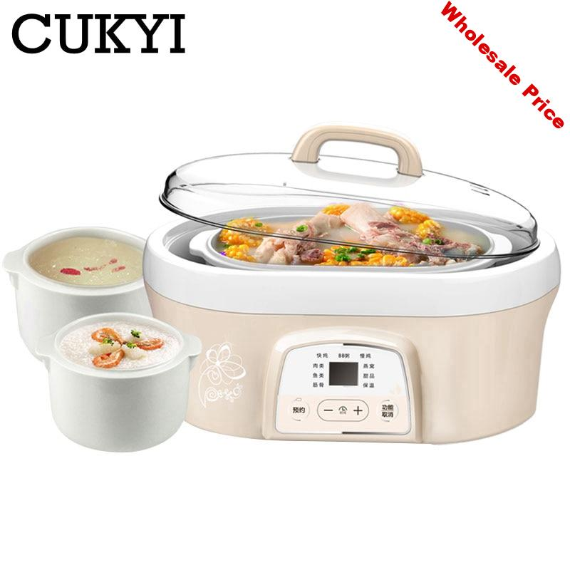 CUKYI water-resisting ceramic Electric cookers White porcelain Nest slow cooker Soup baby Slow porridge pot available for 2-4
