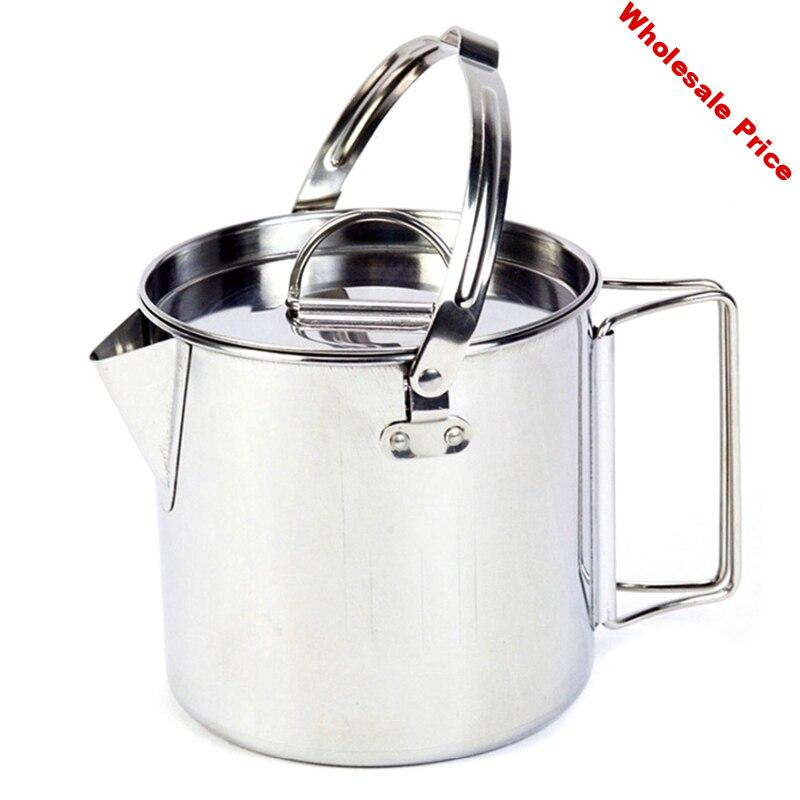 -Outdoor Stainless Steel Cookware Kettles Mountaineering Camping Picnic Portable Boil Water Kettles Pot with Lid Tableware 1.2L