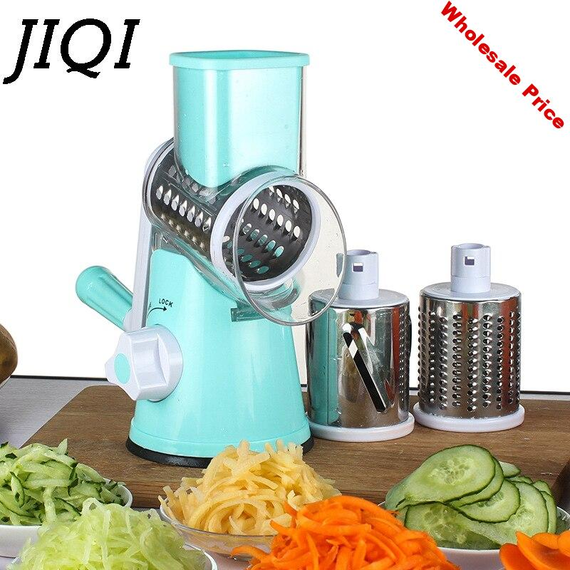 JIQI Manual Vegetable Cutter Grater Slicer Kitchen Accessories Multifunctional Round Mandoline Slicer tool Potato carrot Cheese