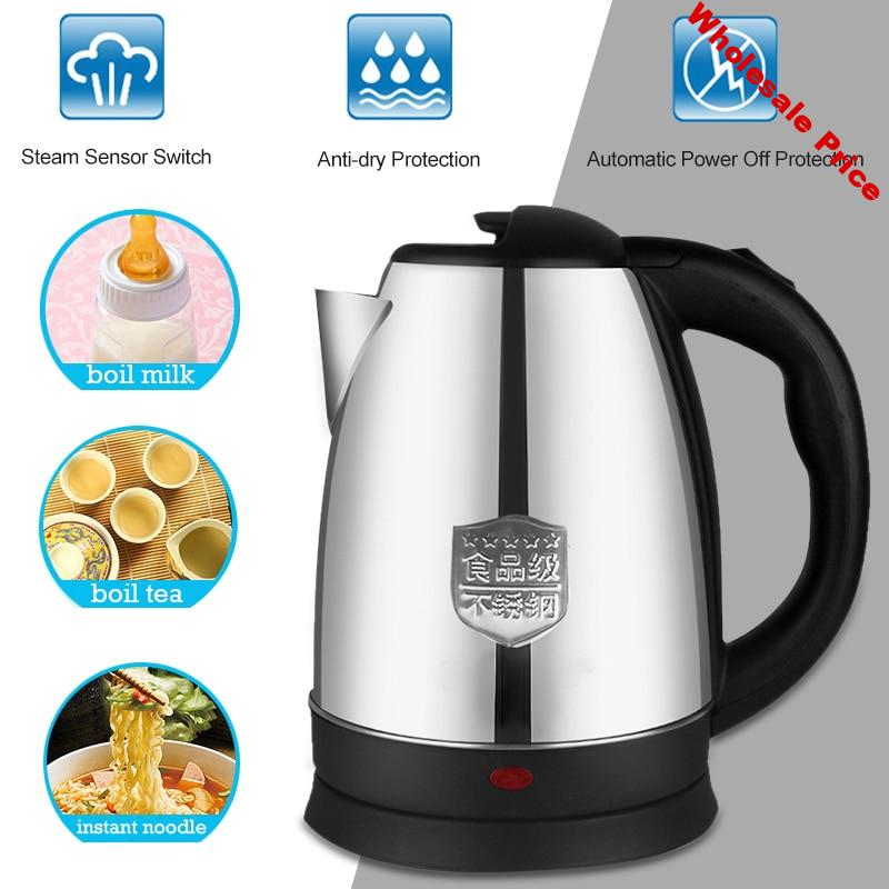 Water Kettle Electric Boiling Pot Electric Kettle 2L Stainless Steel Practical Portable Keep Warm Home Travel Boiler Appliances