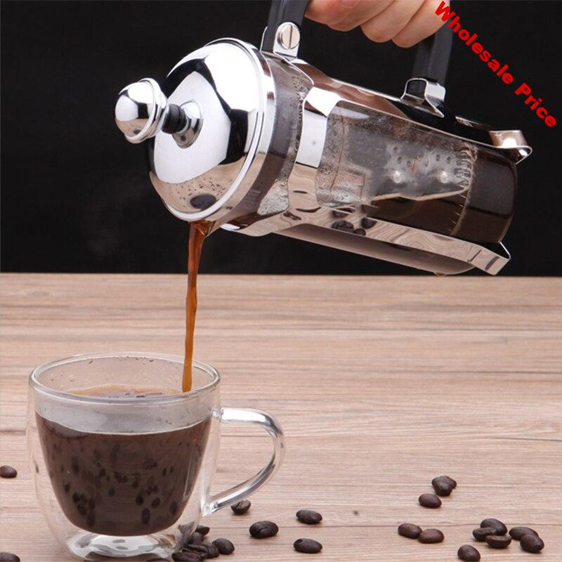 HOT!-French Press Coffee/ Tea Brewer Coffee Pot Coffee Maker Kettle 1000ML Stainless Steel Glass for Coffee Drinkware