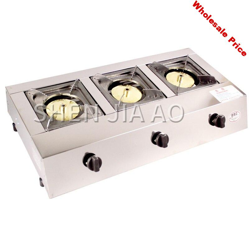 Commercial gas stove Stainless steel three-holes stove Energy-saving furnace Firepower Hotel kitchen gas cooker stove 1pc