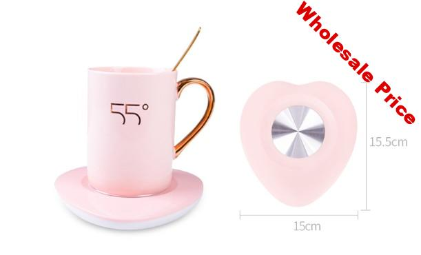 electric heating mat Adjustable tea heater coffee warmer thermostat Heart-shaped warm cup Lady's gift