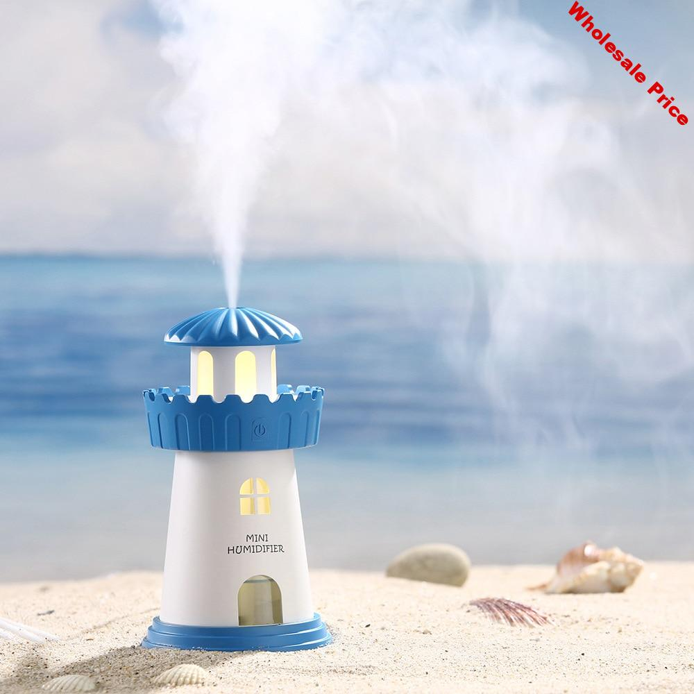 Lighthouse Shape Humidifier Purifier LED Air Aromatherapy Essential Oil Diffuser Mini Night Light Mute Desktop USB Humidifier