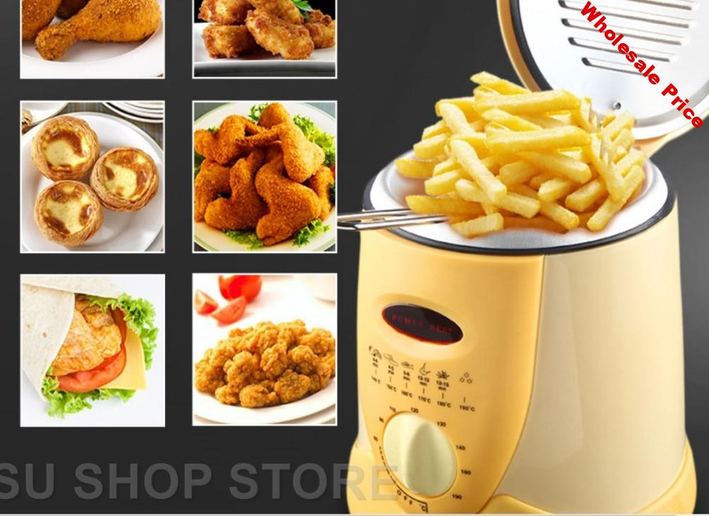 Smokeless multifunctional frying pan 0.9L Mini electric oil fryer oven French fries Grill Chicken Fried Fish Pot machine