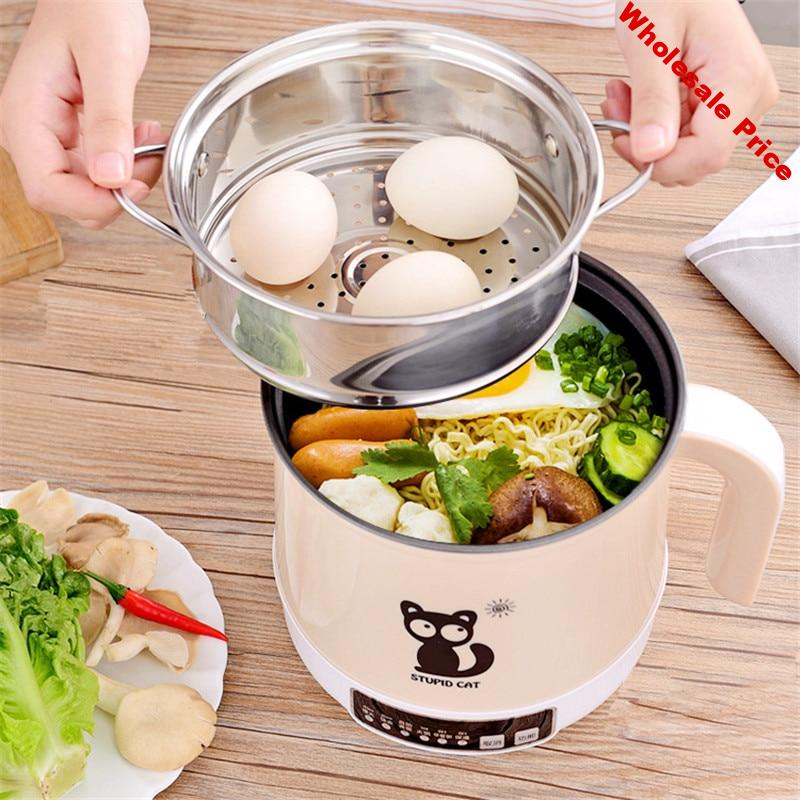 1.8L Rice Cooker Thermal Heating Electric Lunch Box 2 Layers Portable Food Steamer Cooking Rice Mini Cooker Meal Lunchbox