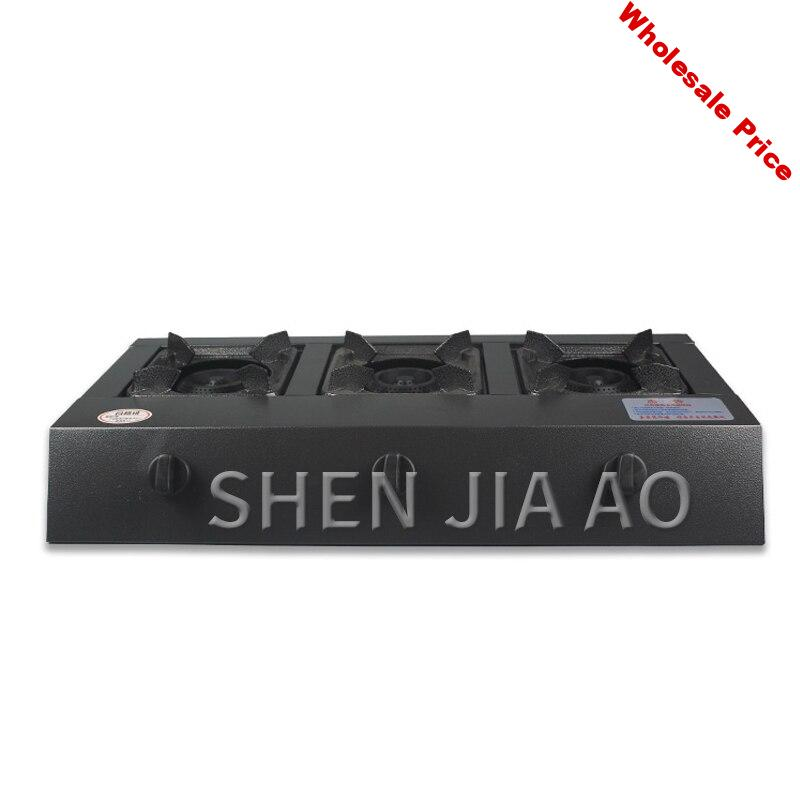 Natural gas liquefied gas stove Stainless steel panel 3 hole fire gas stove Commercial gas stove