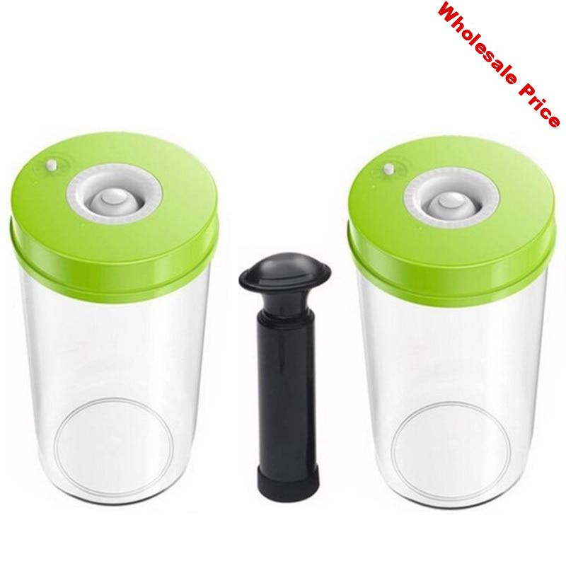 LAIMENG 2 Vacuum Containers Work With Vacuum Packing Machine Canister With Pump Plastic Container with Lid for Food Storage S171