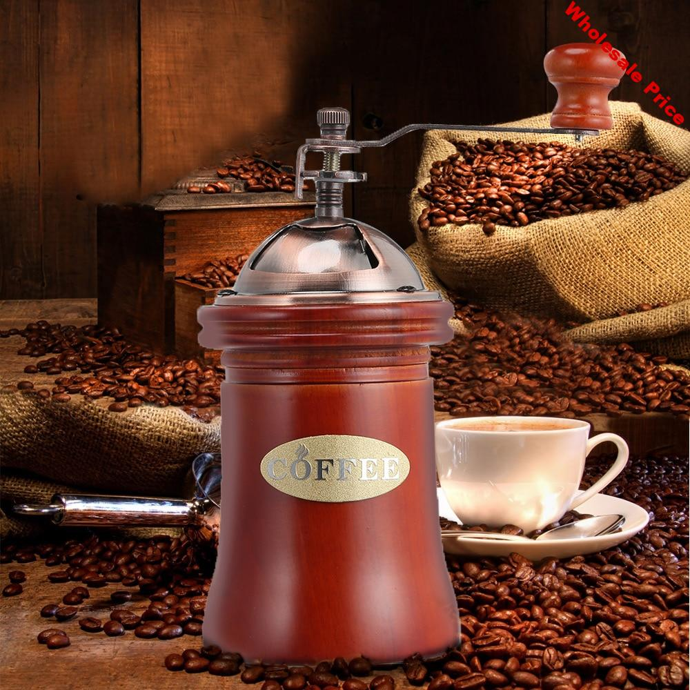 FIMEI Hand Coffee Grinder Manual Wooden Coffee Grinder Hand Grinding Machine Ceramic Grinding Mechanism For Household