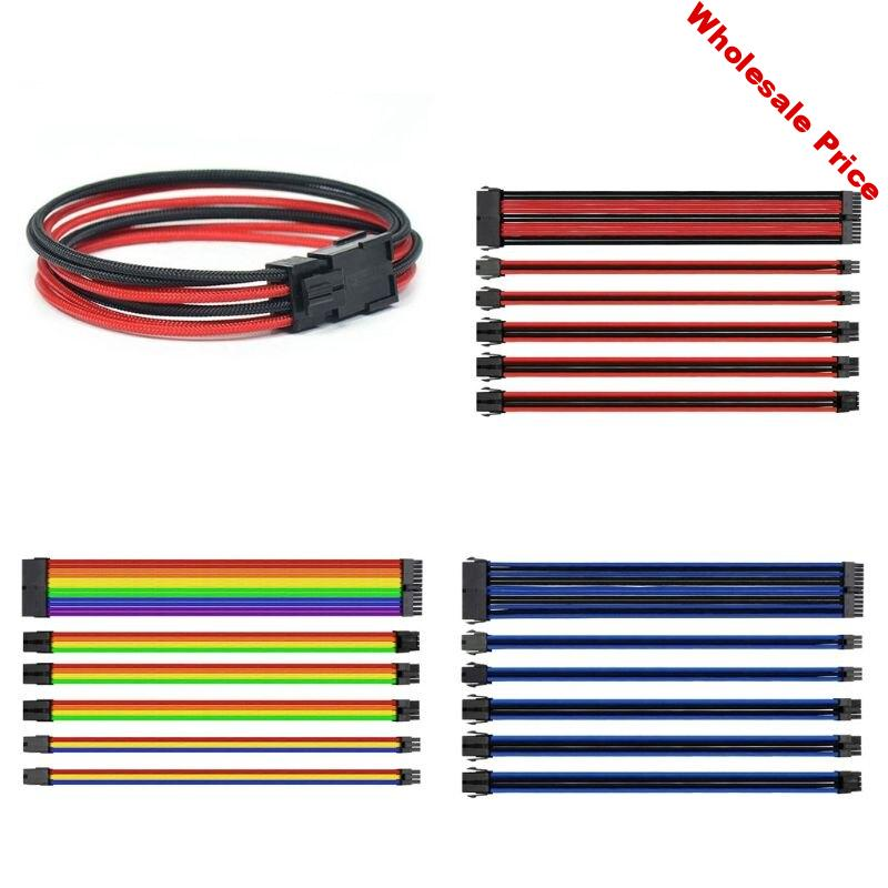 Sleeved Cable Extension Set for Power Supply Wiring 24 Pin 4+4Pin 6+2Pin 6Pin