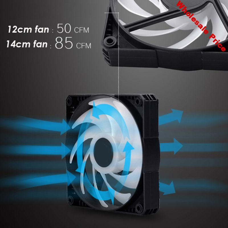 RGB LED Rainbow Color Fan 12cm-14cm PWM Radiator Cooling Fan Support for 5V 3PIN Sync Motherboard A-SUS MSI ASROCK