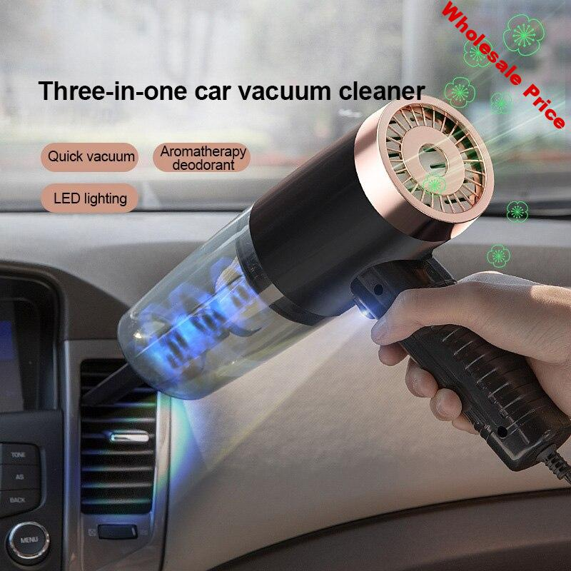 120W Car Vacuum Cleaner 12V Portable Handheld Vacuum Cleaner Wet and Dry 3 in 1 Aromatherapy LED Light Car Interior Dust Cleaner