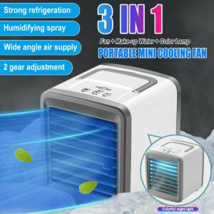 Air Cooler Personal Space Cooler Cool Any Space Colorful night light Air Conditioner Fan With 7 lights Device Home Office Desk