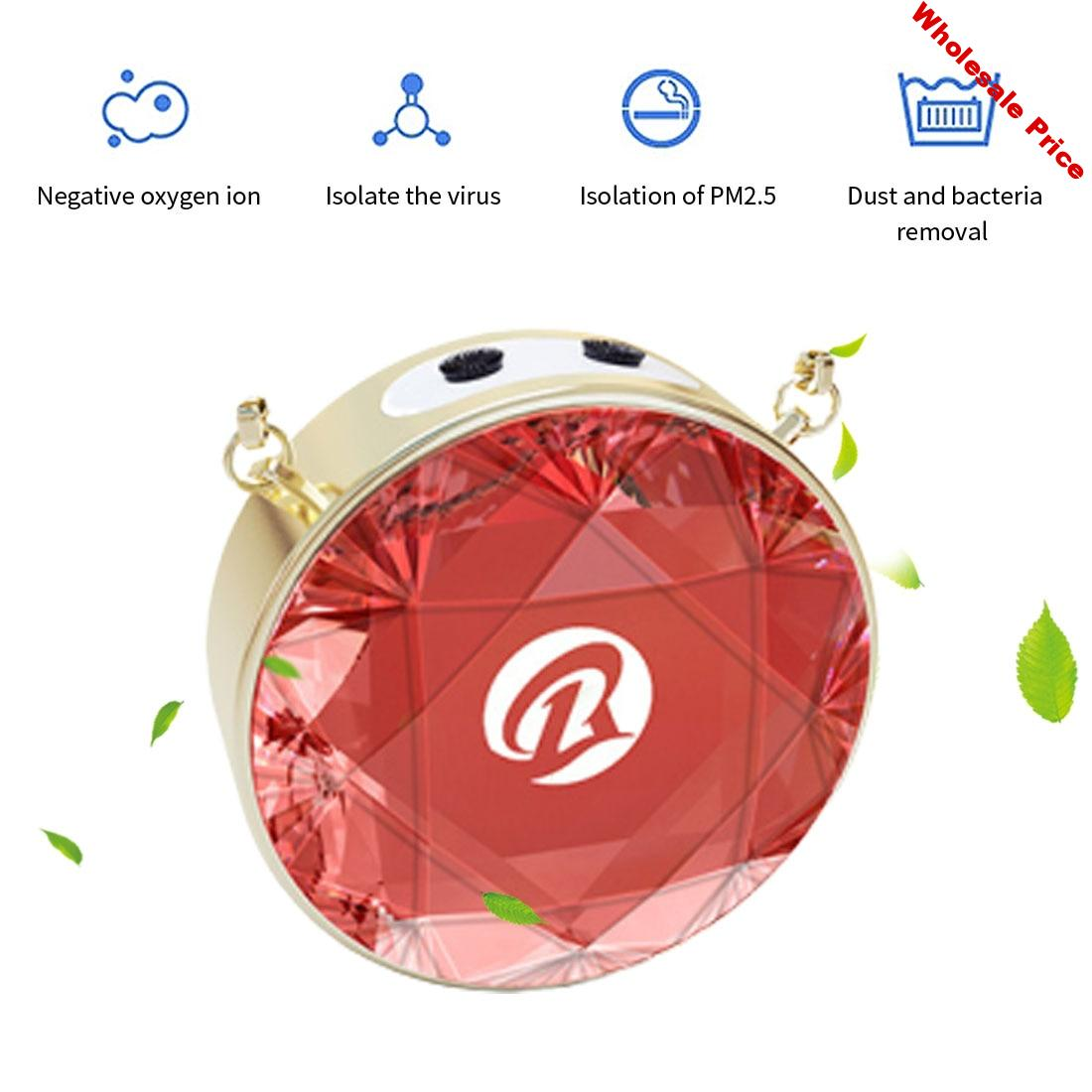 Mini Air Purifier Personal Wearable Necklace Air Freshener Ionizer Negative Ion Generator Portable Air Freshener Home Outdoor