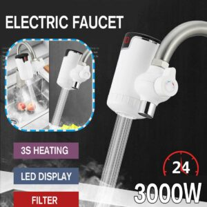 Tankless Electric Kitchen Water Heater Tap EU Plug 3000W 220V LED Display Fast Heating Hot Cold Warm Heaters