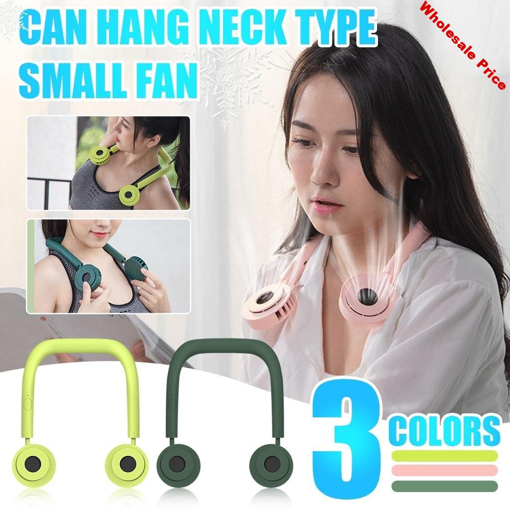 Mini Hand Free Fan Neck Hanging Style Dual Cooling Fans Usb Rechargeable Leafless Portable 360° Rotate Fans For Outoor#g40