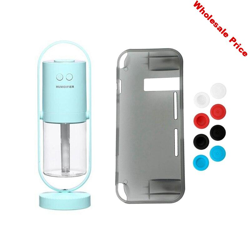 1pcs Protective Case Cover with 8 Thumb Grips Caps Black & 1pcs Ultrasonic ProjectionAir Humidifier with LED Light Blue