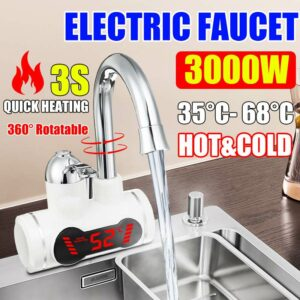 Efficient 3000W Temperature Display Instant Hot Water Tap Tankless Electric Faucet Kitchen Instant Hot Faucet Water Heater