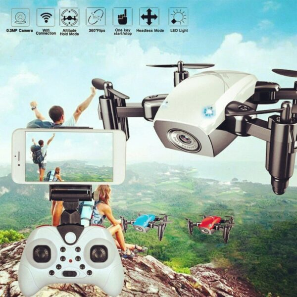S9HW Mini RC Drone With Camera HD 0.3MP Foldable RC Quadcopter Altitude Hold Helicopter WiFi FPV Headless Aircraft