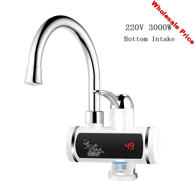 DMWD Electric Water Heater 220V Electric Faucet Kitchen Instant Hot Water Heater Digital Display Bottom/Lateral Intake Type