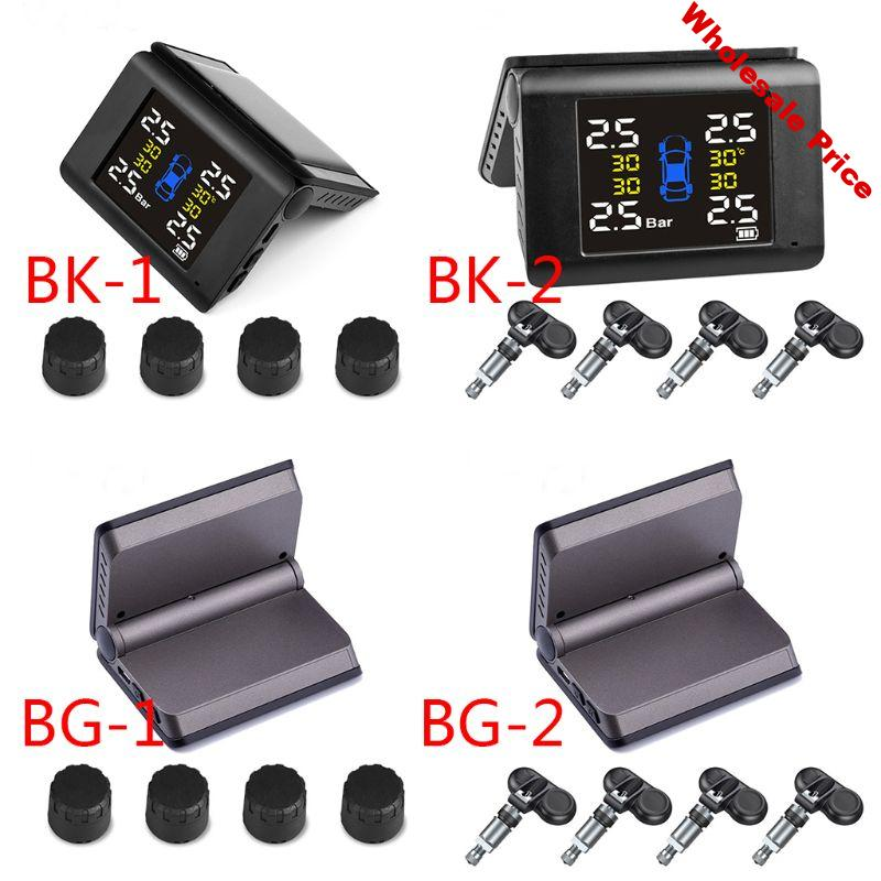 1set TPMS Solar Power Tyre Pressure Monitoring System with 4 Sensors LCD Display Large volume alarm sound warning