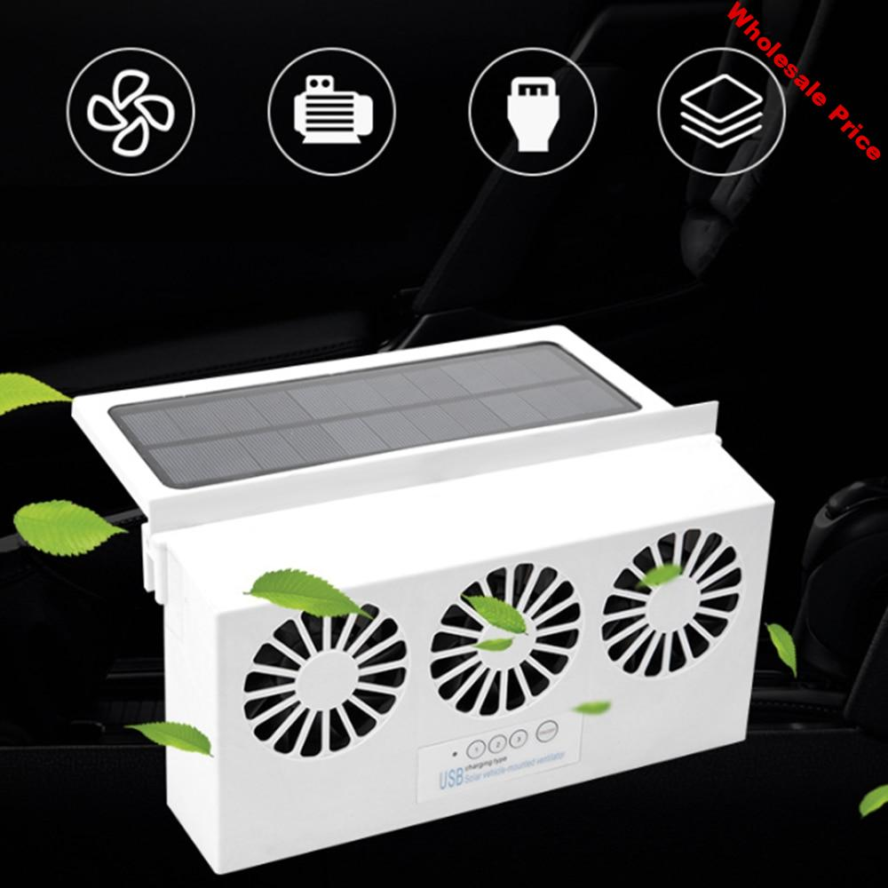 Solar Powered Car Cooler Front/Rear Window Radiator Exhaust Fan Auto Air Vent Fan Ventilation Radiator Cooling System 2 Colors