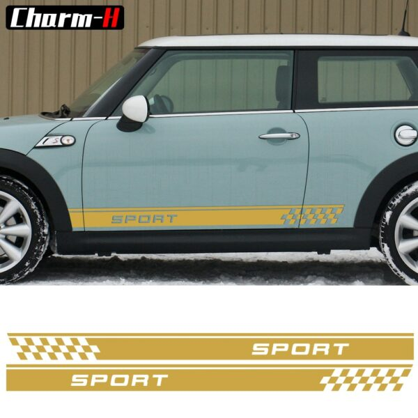 Door Side Decal Stripes Stickers Sport Checker Flag Graphi for MINI Cooper One S Countryman R60 Paceman R61 F55 F56 R56 R50 R53