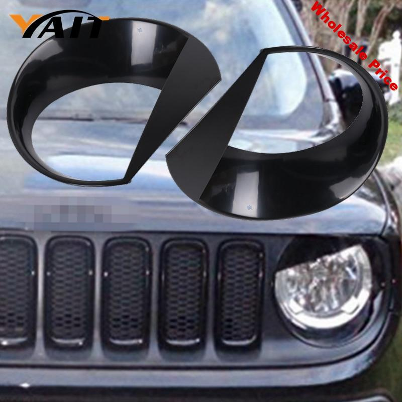 Yait Front light Headlight Angry Bird Style Bezels Trim Cover For Jeep Renegade 2015 2016 2017 (Pack of 2