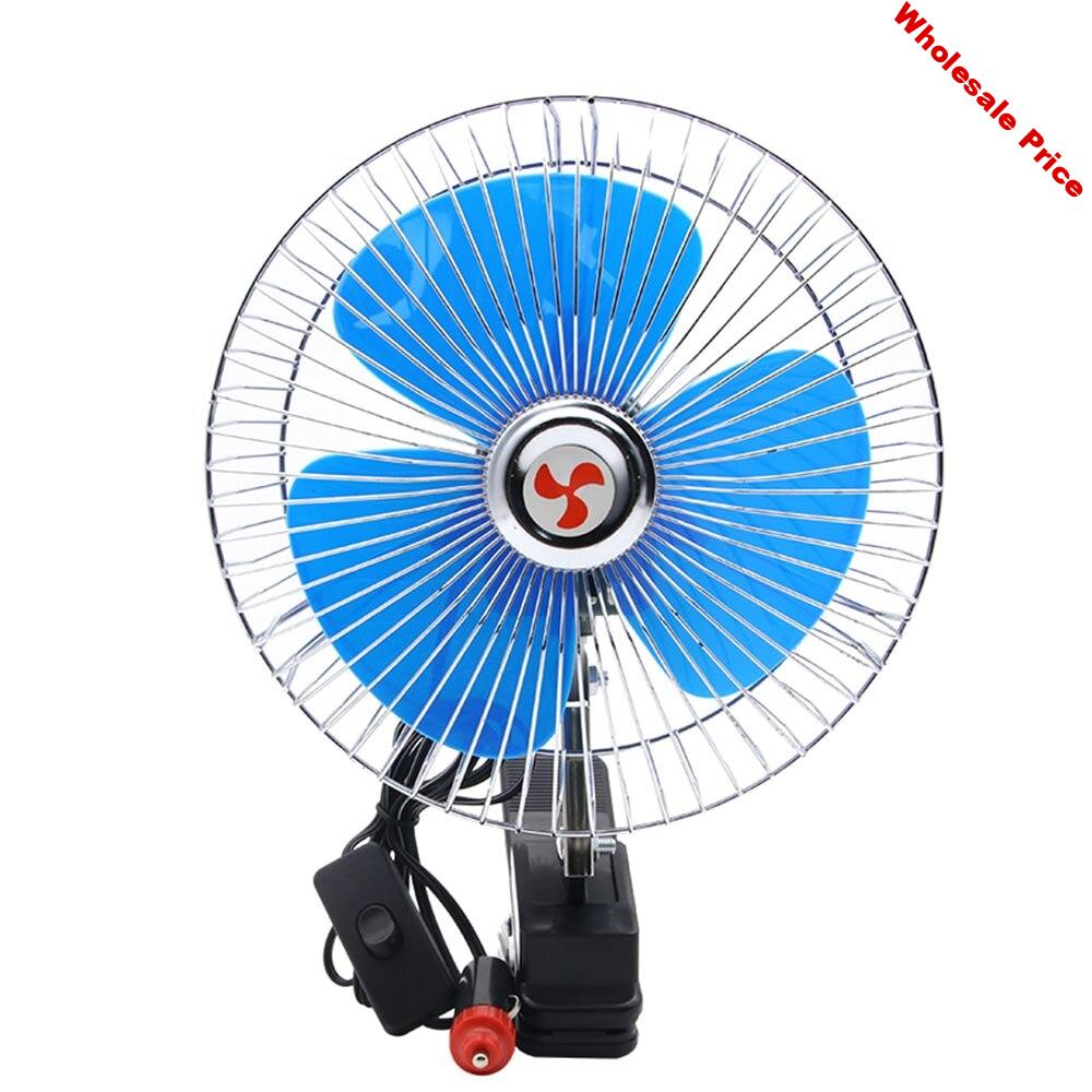 12V Mini Electric Car Fan Cooling Low Noise Summer Car Air Conditioner Fan Portable Vehicle Auto Truck Oscillating Fan