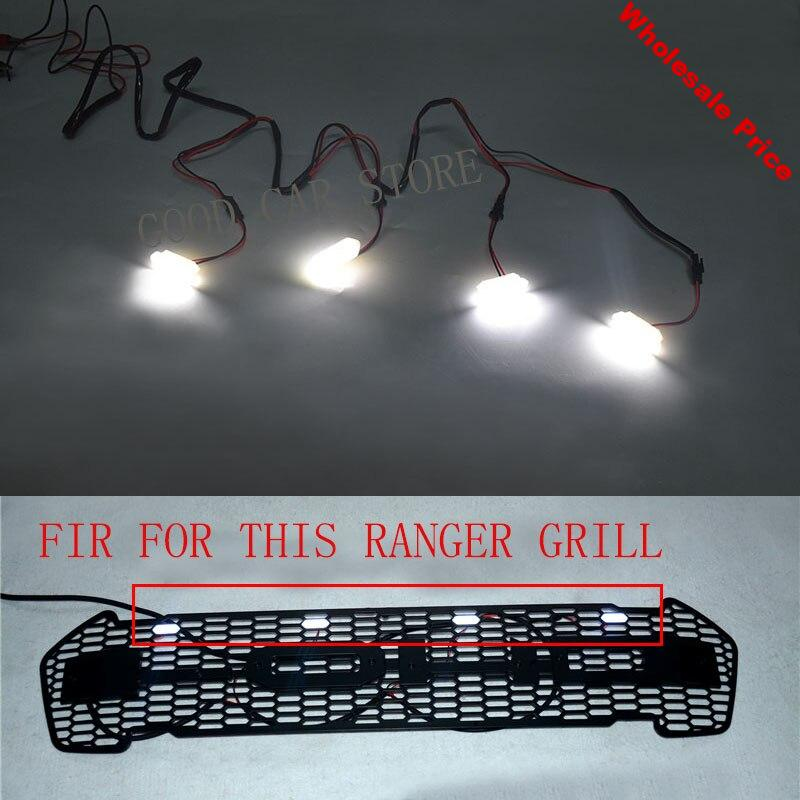 CRAR STYLING 4pcs/set front racing grille led white yellow led fit for ford ranger grill 2015-2017 car