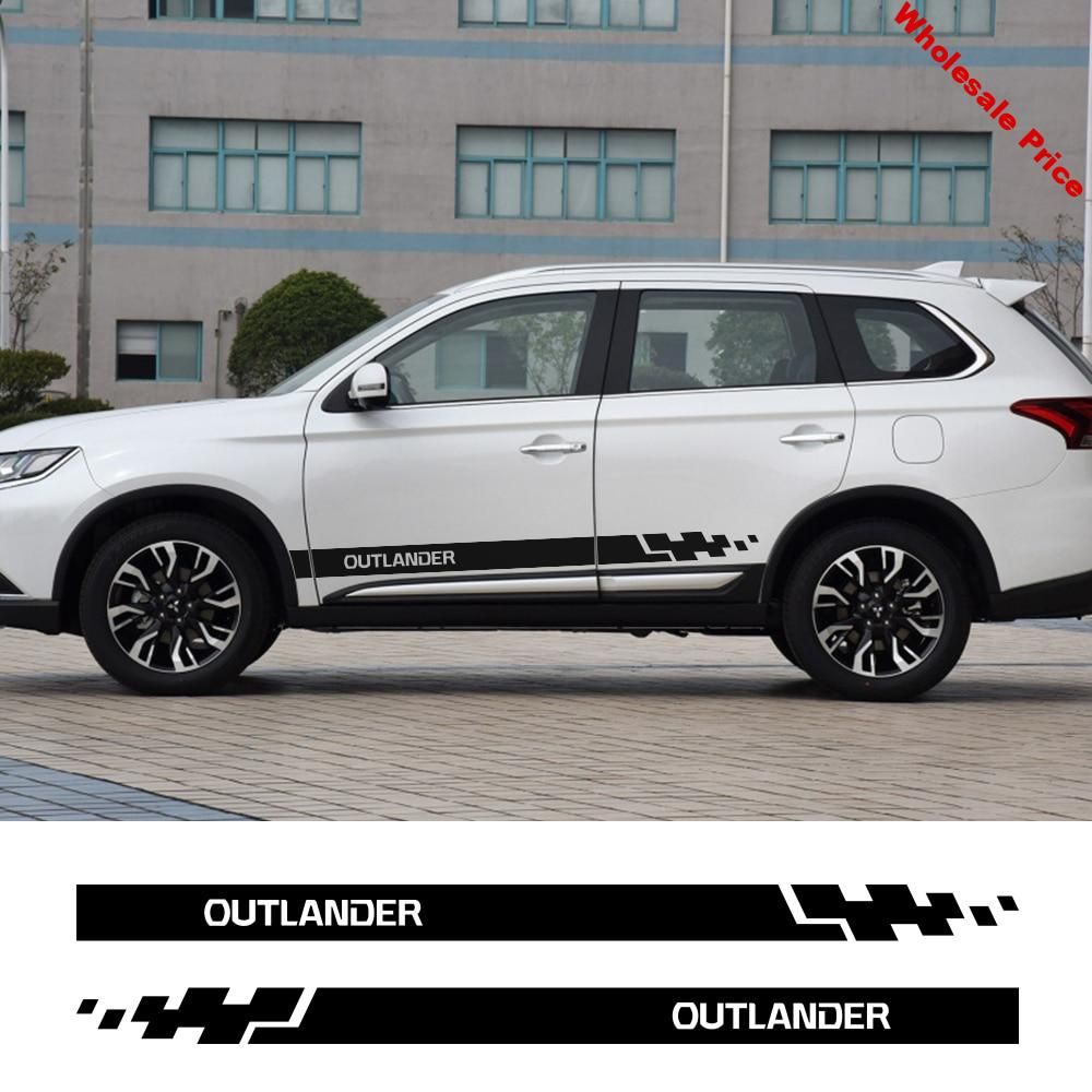 2PCS Car Sticker Vinyl Auto Car Styling Side Stripes For Mitsubishi Outlander Skirt Graphics Auto Decal Tuning Car Accessories