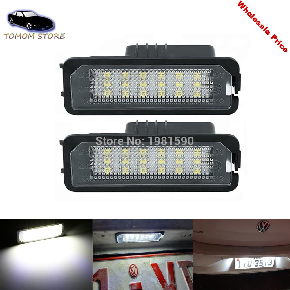 2PCS canbus Free Error led rear license plate lights for GOLF 4 5 6 7 Amarok Beetle Crafter EOS Polo Passat CC Scirocco Phaeton