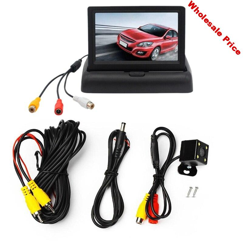 Auto Parking Assistance New 4LED Night-Vision Car CCD Rear View Camera With 4.3 inch Color LCD Car Video Foldable Monitor Camera