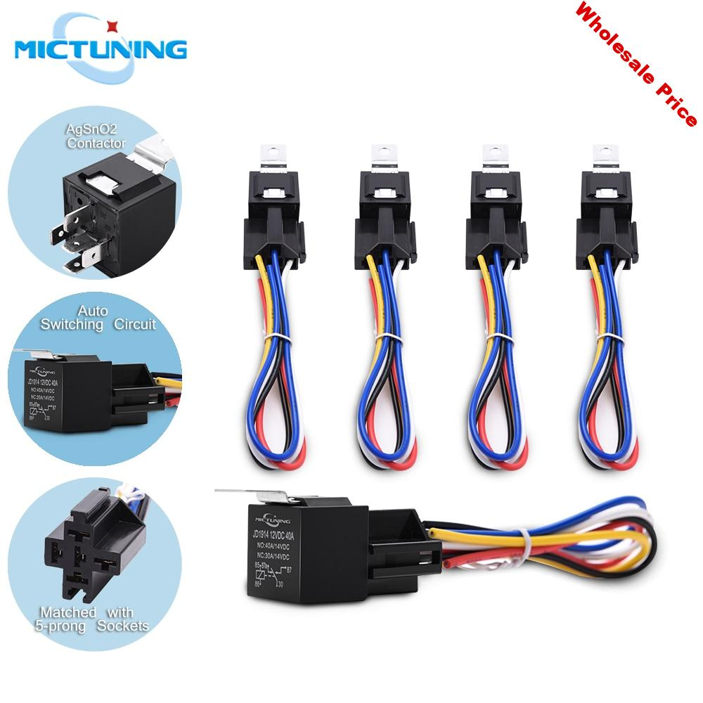 MICTUNING 5pcs 30/40A Vehicle SPDT Relay 12V 5-Prong Car Wiring Harness Socket w/ Color-labeled Wire Waterproof Automotive Relay