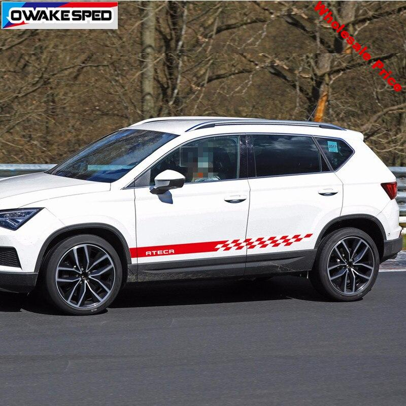 For Seat ATECA FR X-Perience Racing Stripes Car Styling Door Skirt Stickers Both Side Accessories  Auto Body Decor Decals
