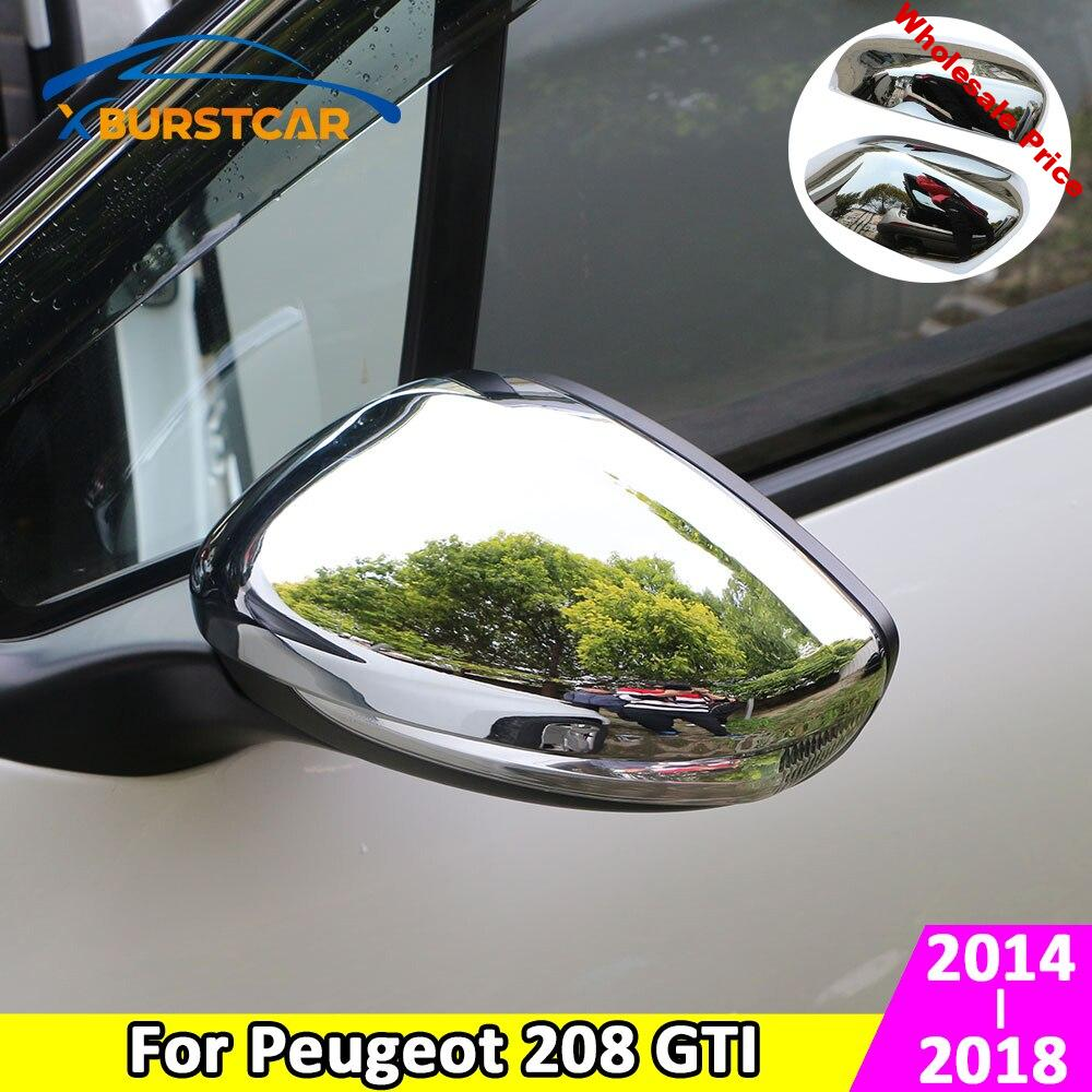 Xburstcar for Peugeot 208 GTI 2014 - 2018 ABS Chrome Car Rear View Mirror Protection Covers Rearview Mirror Stickers Accessories