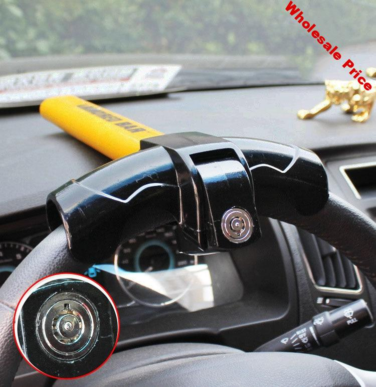 Universal Car Steering Wheel Lock with 2 Keys copper cylinder Anti-Theft Locking Fit for Van SUV Security Rotary T-Shaped Lock